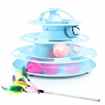Pecute Katzenspielzeug Katze Toys 4 Turm und 4 Bälle mit Katzenminze Bälle/Glühende Bälle/Katzenangel Maus (Blau) - 1