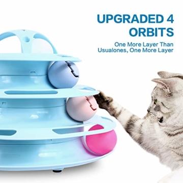 Pecute Katzenspielzeug Katze Toys 4 Turm und 4 Bälle mit Katzenminze Bälle/Glühende Bälle/Katzenangel Maus (Blau) - 5