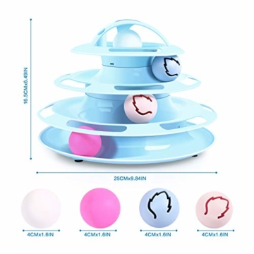 Pecute Katzenspielzeug Katze Toys 4 Turm und 4 Bälle mit Katzenminze Bälle/Glühende Bälle/Katzenangel Maus (Blau) - 6