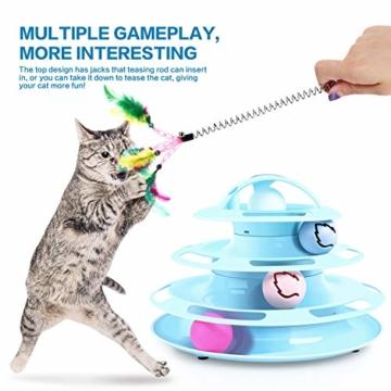 Pecute Katzenspielzeug Katze Toys 4 Turm und 4 Bälle mit Katzenminze Bälle/Glühende Bälle/Katzenangel Maus (Blau) - 7
