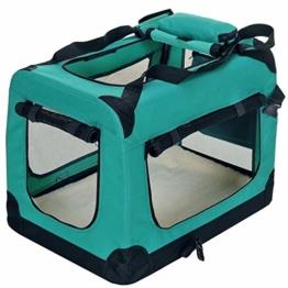 PET VIOLET Transportbox Hundebox Faltbar Katzenbox Hunde Tragetasche 62x42x44 cm, Grün - 1