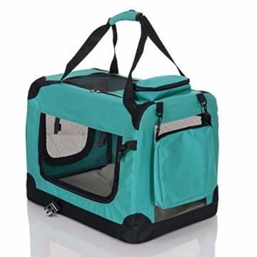 PET VIOLET Transportbox Hundebox Faltbar Katzenbox Hunde Tragetasche 62x42x44 cm, Grün - 4