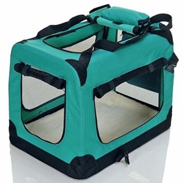 PET VIOLET Transportbox Hundebox Faltbar Katzenbox Hunde Tragetasche 62x42x44 cm, Grün - 5