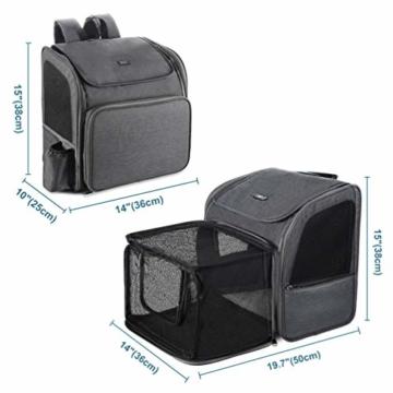 Petacc Hunde Katzen Rucksack Skalierbar Geräumig Hundetasche Belüftung Haustier Transportbox Bequem, Transporttasche für Reisen für kleine Hunde, Katzen und Kleintiere bis 6,8 kg - 4