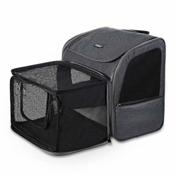 Petacc Hunde Katzen Rucksack Skalierbar Geräumig Hundetasche Belüftung Haustier Transportbox Bequem, Transporttasche für Reisen für kleine Hunde, Katzen und Kleintiere bis 6,8 kg - 1