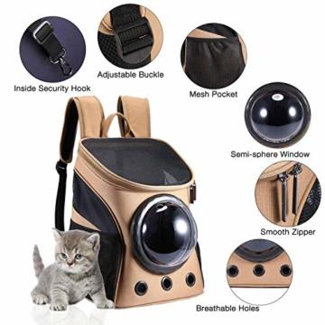 Petcomer Innovative Traveler Bubble Rucksack Transportboxen Airline Travel zugelassen Carrier umschaltbar Mesh Panel für Katzen und Hunde (Khaki) - 2