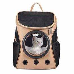 Petcomer Innovative Traveler Bubble Rucksack Transportboxen Airline Travel zugelassen Carrier umschaltbar Mesh Panel für Katzen und Hunde (Khaki) - 1