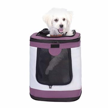 Petcomer SBC5148 Haustiertragetasche für Hunde und Katzen Faltbarer Rucksäcke gut für Wander-Kampagne Tägliche Verwendung, Einheitsgröße, Purple - 2