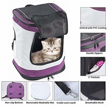 Petcomer SBC5148 Haustiertragetasche für Hunde und Katzen Faltbarer Rucksäcke gut für Wander-Kampagne Tägliche Verwendung, Einheitsgröße, Purple - 3