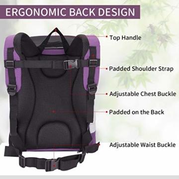 Petcomer SBC5148 Haustiertragetasche für Hunde und Katzen Faltbarer Rucksäcke gut für Wander-Kampagne Tägliche Verwendung, Einheitsgröße, Purple - 4