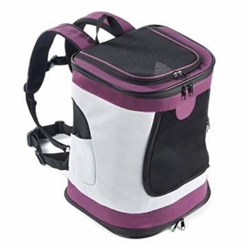 Petcomer SBC5148 Haustiertragetasche für Hunde und Katzen Faltbarer Rucksäcke gut für Wander-Kampagne Tägliche Verwendung, Einheitsgröße, Purple - 1