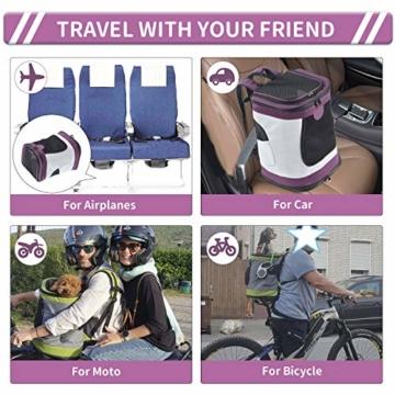 Petcomer SBC5148 Haustiertragetasche für Hunde und Katzen Faltbarer Rucksäcke gut für Wander-Kampagne Tägliche Verwendung, Einheitsgröße, Purple - 5