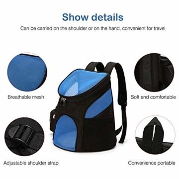 PETCUTE Hunderucksack Katzenrucksack Rucksack für kleine Hunde Haustiertragetasche Taschen mit Abnehmbarer Matte - 3