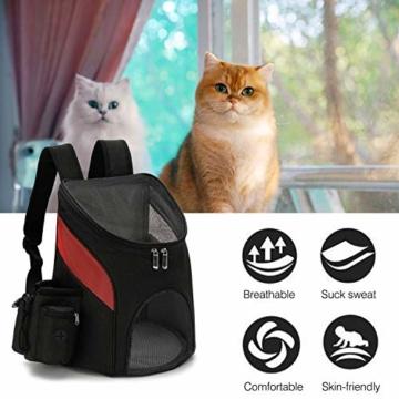 PETCUTE Hunderucksack Katzenrucksack Rucksack für kleine Hunde Haustiertragetasche Taschen mit Abnehmbarer Matte - 5