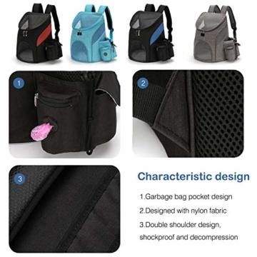 PETCUTE Hunderucksack Katzenrucksack Rucksack für kleine Hunde Haustiertragetasche Taschen mit Abnehmbarer Matte - 6