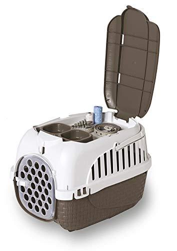 PETGARD Transportbox Hundebox Katzenbox Maxy Tour 59 x 38 x 37 cm inkl. gratis Napf braun - 2