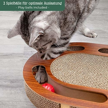 Pfotenolymp® Katzenspielplatz - interaktives Katzenspielzeug/Kratzbrett aus Wellpappe - Kratzpappe - Futterspielzeug mit Spielball & Katzenminze - 2