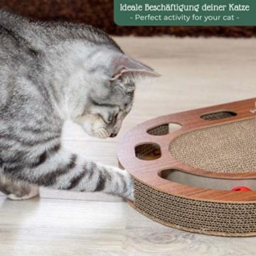 Pfotenolymp® Katzenspielplatz - interaktives Katzenspielzeug/Kratzbrett aus Wellpappe - Kratzpappe - Futterspielzeug mit Spielball & Katzenminze - 3