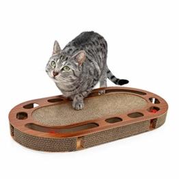 Pfotenolymp® Katzenspielplatz - interaktives Katzenspielzeug/Kratzbrett aus Wellpappe - Kratzpappe - Futterspielzeug mit Spielball & Katzenminze - 1