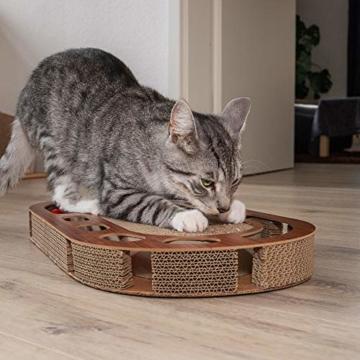 Pfotenolymp® Katzenspielplatz - interaktives Katzenspielzeug/Kratzbrett aus Wellpappe - Kratzpappe - Futterspielzeug mit Spielball & Katzenminze - 5