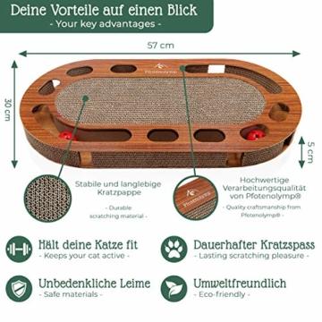 Pfotenolymp® Katzenspielplatz - interaktives Katzenspielzeug/Kratzbrett aus Wellpappe - Kratzpappe - Futterspielzeug mit Spielball & Katzenminze - 6