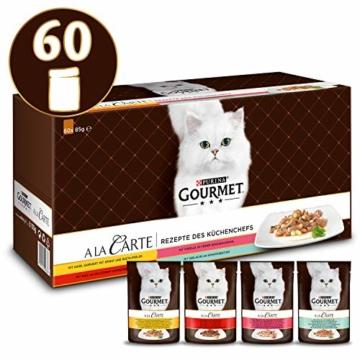 PURINA GOURMET A la Carte Katzenfutter nass, Sorten-Mix, 60er Pack (60 x 85g) - 1