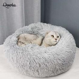 Queta Katzenbett Schöne Tierbett, Klein Hund Bett Haustierbett Plüsch Weich Runden Katze Schlafen Bett (50cm Durchmesser Hellgrau) - 1