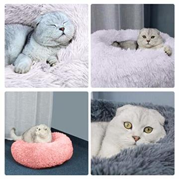 Queta Katzenbett Schöne Tierbett, Klein Hund Bett Haustierbett Plüsch Weich Runden Katze Schlafen Bett (50cm Durchmesser Hellgrau) - 6