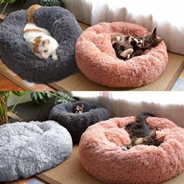 Queta Katzenbett Schöne Tierbett, Klein Hund Bett Haustierbett Plüsch Weich Runden Katze Schlafen Bett (50cm Durchmesser Hellgrau) - 8