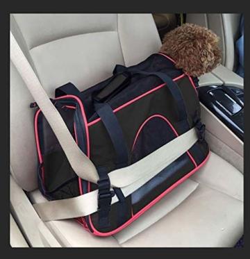 Queta Weich Gepolsterte Transporttasche, FaltbareTransportbox, Tiertragetasche mit fressnapf, Haustiertasche, Katzentransportbox, Hundereisetasche (41 * 20 * 27cm) - 2