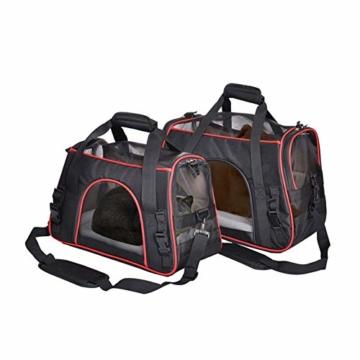 Queta Weich Gepolsterte Transporttasche, FaltbareTransportbox, Tiertragetasche mit fressnapf, Haustiertasche, Katzentransportbox, Hundereisetasche (41 * 20 * 27cm) - 4