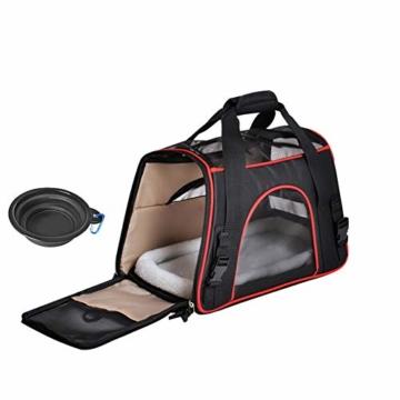 Queta Weich Gepolsterte Transporttasche, FaltbareTransportbox, Tiertragetasche mit fressnapf, Haustiertasche, Katzentransportbox, Hundereisetasche (41 * 20 * 27cm) - 1