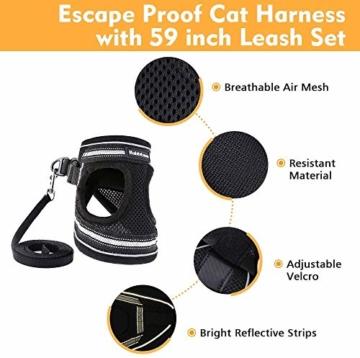 rabbitgoo Katzengeschirr Leine Set für Spaziergänge ausbruchsicher verstellbar weich Kätzchenweste mit reflektierendem Streifen für extra kleine Katzen, bequemes Outdoorgeschirr, schwarz M - 5