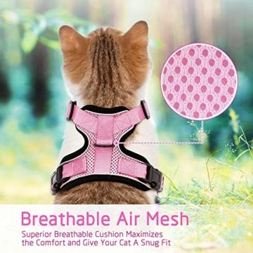 rabbitgoo Katzengeschirr mit Leine Softgeschirr für Katze Brustgeschirr Cat Harness Katzengarnitur ausbruchsicher verstellbar Katzenweste Rosa XS - 5
