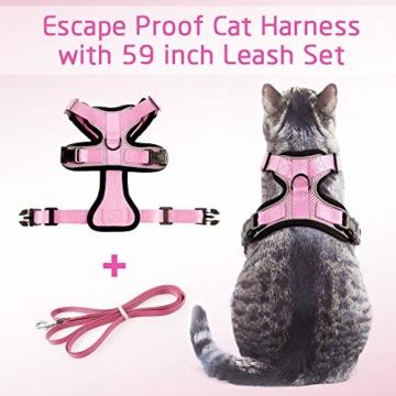 rabbitgoo Katzengeschirr mit Leine Softgeschirr für Katze Brustgeschirr Cat Harness Katzengarnitur ausbruchsicher verstellbar Katzenweste Rosa XS - 6