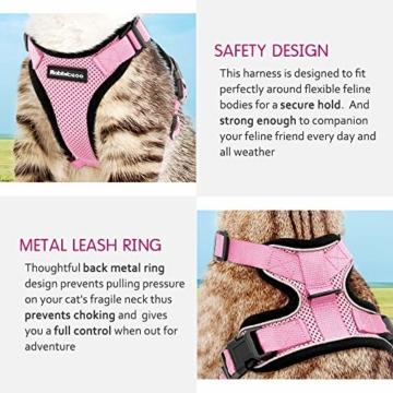 rabbitgoo Katzengeschirr mit Leine Softgeschirr für Katze Brustgeschirr Cat Harness Katzengarnitur ausbruchsicher verstellbar Katzenweste Rosa XS - 7