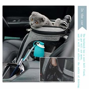 REAYOU Haustier Reise Rucksack Haustier Rucksäcke haustiertragetasche Atmungsaktive Outdoor Faltbarer für Hunde und Katzen (Black-L) - 4
