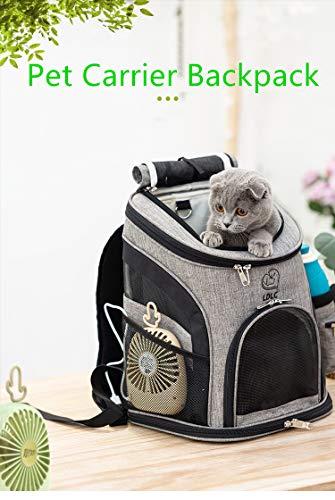 REAYOU Haustier Reise Rucksack Haustier Rucksäcke haustiertragetasche Atmungsaktive Outdoor Faltbarer für Hunde und Katzen (Black-L) - 5