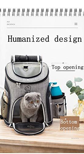 REAYOU Haustier Reise Rucksack Haustier Rucksäcke haustiertragetasche Atmungsaktive Outdoor Faltbarer für Hunde und Katzen (Black-L) - 7