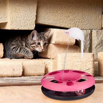 Relaxdays 10023896_111, grau Katzenspielzeug mit Maus, Kugelbahn, Ball mit Glöckchen, Cat Toy, interaktiv, Training & Beschäftigung - 2