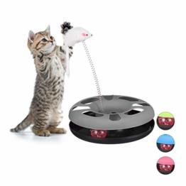 Relaxdays 10023896_111, grau Katzenspielzeug mit Maus, Kugelbahn, Ball mit Glöckchen, Cat Toy, interaktiv, Training & Beschäftigung - 1