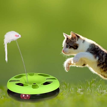 Relaxdays 10023896_111, grau Katzenspielzeug mit Maus, Kugelbahn, Ball mit Glöckchen, Cat Toy, interaktiv, Training & Beschäftigung - 4