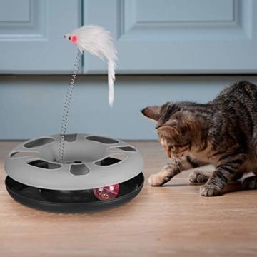 Relaxdays 10023896_111, grau Katzenspielzeug mit Maus, Kugelbahn, Ball mit Glöckchen, Cat Toy, interaktiv, Training & Beschäftigung - 6