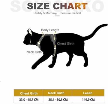 Scirokko Katzengeschirr und Leine, ausbruchsicheres, verstellbares Hundegeschirr für den Außenbereich, mit reflektierendem Riemen, weiches Netzgewebe mit Metallclip, für Katzen und Kaninchen - 2