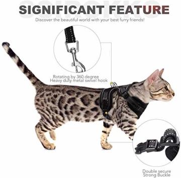 Scirokko Katzengeschirr und Leine, ausbruchsicheres, verstellbares Hundegeschirr für den Außenbereich, mit reflektierendem Riemen, weiches Netzgewebe mit Metallclip, für Katzen und Kaninchen - 3