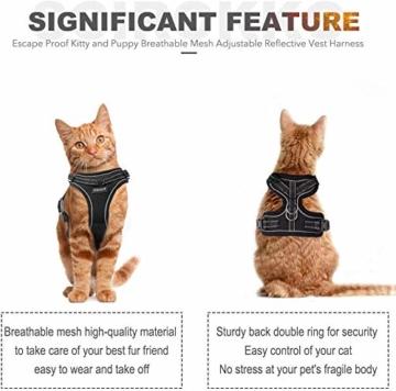 Scirokko Katzengeschirr und Leine, ausbruchsicheres, verstellbares Hundegeschirr für den Außenbereich, mit reflektierendem Riemen, weiches Netzgewebe mit Metallclip, für Katzen und Kaninchen - 4