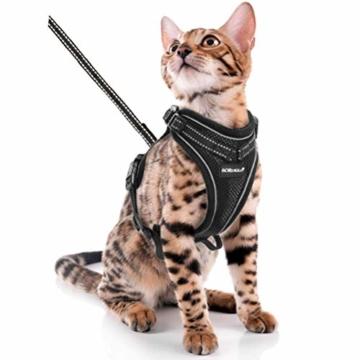 Scirokko Katzengeschirr und Leine, ausbruchsicheres, verstellbares Hundegeschirr für den Außenbereich, mit reflektierendem Riemen, weiches Netzgewebe mit Metallclip, für Katzen und Kaninchen - 1