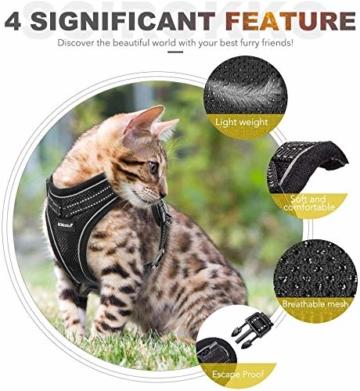 Scirokko Katzengeschirr und Leine, ausbruchsicheres, verstellbares Hundegeschirr für den Außenbereich, mit reflektierendem Riemen, weiches Netzgewebe mit Metallclip, für Katzen und Kaninchen - 6