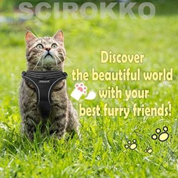 Scirokko Katzengeschirr und Leine, ausbruchsicheres, verstellbares Hundegeschirr für den Außenbereich, mit reflektierendem Riemen, weiches Netzgewebe mit Metallclip, für Katzen und Kaninchen - 7