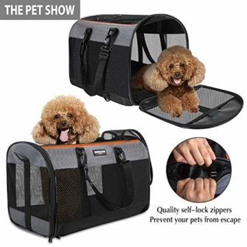 Songwin Hundetasche, Hundebox, faltbar Hundetransportbox Auto Transporttasche für Haustiere,Katzenbox,Grau (Katzentragetasche) - 2